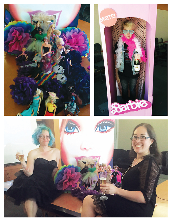 RE-VAMPED (clockwise from top l.): Barbie dolls, reimagined to express teens'  own varied identities, hit the runway; the program featured a living teen doll (r.), author Mudrakoff's daughter;  Mudrakoff & Schertzer toast their successful program
