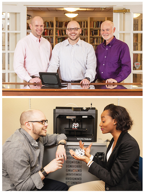 Top: Biggers (ctr.) with IT operations manager Franklin Graves (l.) and assistant dean of libraries Tim Bucknall.  Bottom: LJ's Paralibrarian of the Year talks 3-D printing in the UNCG Design Lab with student Samantha Chimenge.  Photos by Mitchell Kearney