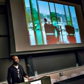 David Adjaye, Eugene McDermott Award in the Arts at MIT Recipient presents at the Future of the Library panel at MIT. Image courtesy of MIT, photo by L. Barry Hetherington