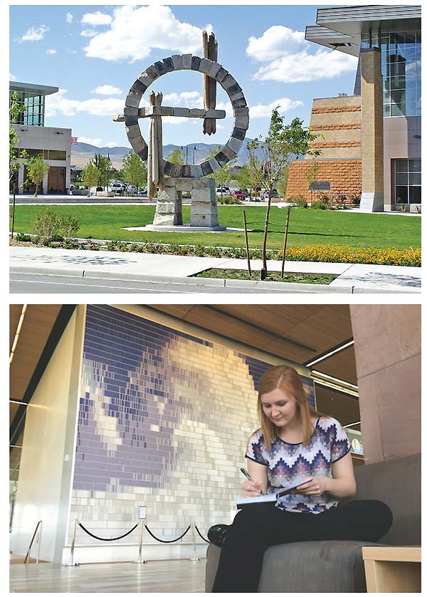 Top: Monument to Time, by Ilan Averbuch, is on display at Salt Lake County Library Services' Herriman branch. Bottom: Cloud, at Dixie State University library, St. George UT, is made of blank journals students can check out and write in. Monument To Time photo courtesy of Salt Lake County Library Services; Cloud photo courtesy of Dixie State University