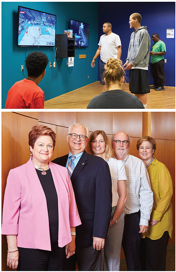 Top: Teens enjoying their very own Edge Teen Room. Bottom: CEO Gina Millsap (l.) with her team (l.–r.) COO Robert Banks, CFO Sheryl Weller, HR director Stephen Lusk, and communications and marketing director Diana Friend.  Photos by Alistair Tutton Photography