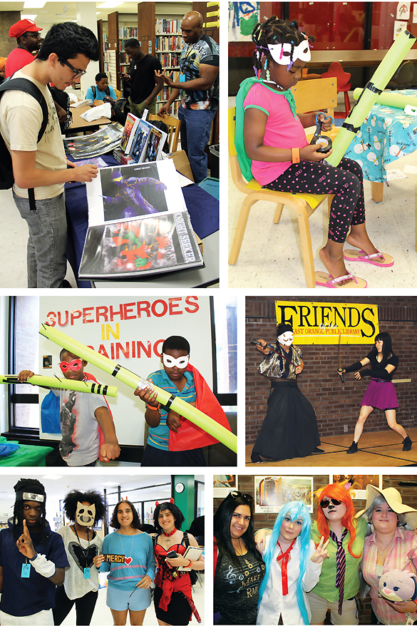 ToshoCon, at the East Orange PL, NJ, featured vendors such as Seeker Entertainment offering collectibles and, of course, books (top); sword-making sharpened up the interactive samurai presentation (top r. and middle); and costumed attendees made the most of a chance to out-grown-up the grown-ups (bottom). Photos by Kevin Henegan