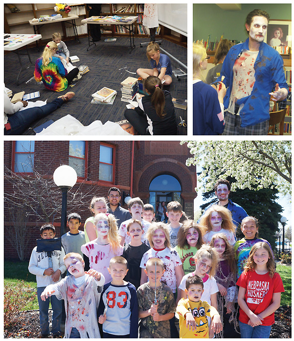 IT'S A LOCK (Clockwise from top l.): Kids create the puzzles for the library escape room; Morton-James PL director Rasmus Thoegersen made up as a zombie; and all the zombies get ready for their moment