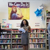 Grand opening of NYPL's library at Rikers Island (l.–r.): DOC Commissioner Joseph Ponte, RMSC Program Coordinator Shaneka Holdman, City Council Member Andy King. Photo credit: Jonathan Blanc / NYPL