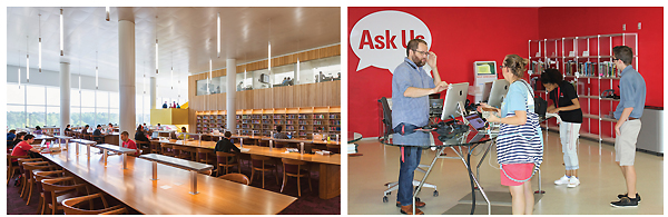 (l.-r.) The Quiet Reading Room allows for serious study, and the ASK US desk gets good use.  Left photo ©Jeff Goldberg/Esto; right photo by Kevin Henegan