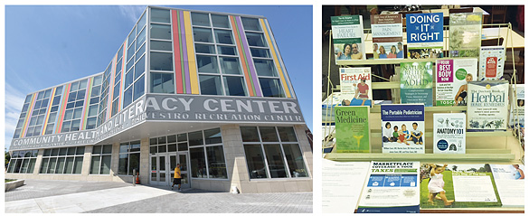 The Community Health Center, Free Library of Philadelphia, displays a wealth of health materials.  FPL photos courtesy of the Free Library of Philadelphia