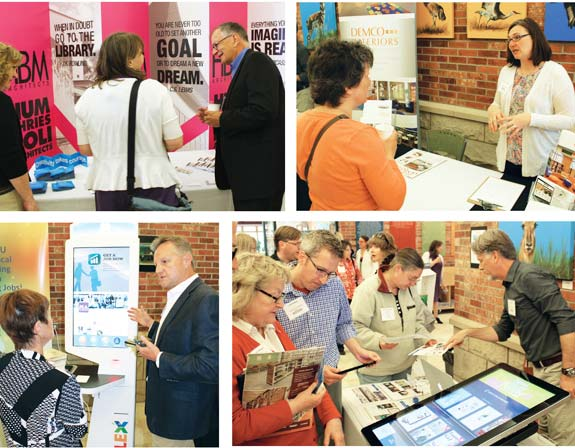Sponsors involved in morning networking included (clockwise from top l.) Dennis Humphries (r.) from Humphries Poli Architects, Stacey Schneider  from DEMCO Interiors, Jeff Peden (l.) and Chris Lee (r.) from Anode, and Gary Kirk from Tech Logic. Photos by Kevin Henegan