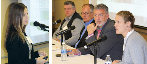 (l.-r.) OPN Architects' Mindy Sorg kicked off the panel on trends in building and renovation; those offering innovative examples included (l.–r.) Jeff Davis from Architectural Nexus, Dennis Humphries, Kevin Blalock from Blalock and Partners, and Traci Lesneski from MSR. Photos by Kevin Henegan