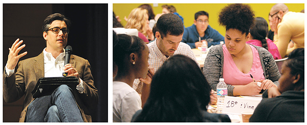 FROM WRITER TO READERS (l.–r.): Author Tanner Colby addresses program participants, while students from a Race Project KC bus tour process their impressions together. Photos courtesy of Johnson County PL