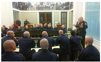 AT THE TABLE Nashville police trainees in NPL's Civil Rights Room.  Photo courtesy of Nashville PL