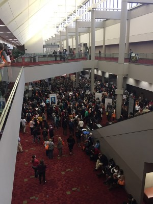 ALA Midwinter attendees waiting for the show floor to open