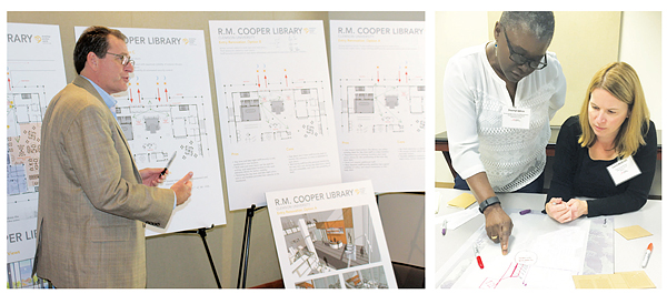 Brainstorms were led by the various architects, including David Moore from McMillan Pazdan Smith (l.), who offered up designs for the Clemson University Library, while attendees conferred during the New City Library challenge (r.). Left photo by Kevin Henegan, right photo by Rebecca T. Miller