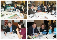 BRING YOUR OWN Attendees brought their own tricky design dilemmas—and sometimes their own plans and props—to engage a variety of architects and vendors during the speed sessions. Top row, l.-r.: Joe Frueh from 3branch; and Bill Overton from Overton and Associates. Bottom row, l.-r.: VMDO's Jim Kovach; and HBM's Peter Bolek with Beth Steiner (ctr.) and Jenny Eyink, both from Auglaize County Public Library, OH. Photos by Kevin Henegan