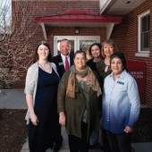 Mississippi Valley Library District (MVLD): (l.–r.) Kyla Waltermire, Collinsville Memorial Public Library manager; Rob Schwartz, senior VP, TheBANK of Edwardsville; Vicky Hart, MVLD executive director; Sandy Smith, assistant VP, TheBANK of Edwardsville; Katie Heaton, manager, Fairmont City Library Center; and Marie Johnson-Walker, MVLD trustee. Photo ©2017 Sid Hastings