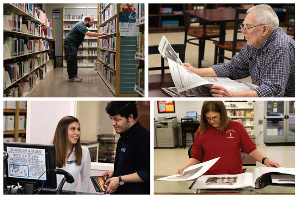 LEADIN HERE: Top row: patrons making use of the library. Bottom row, left: Hector Alcazar (r.) joins Karina Almeida working the front desk of the FCLC. Both are bilingual, important in the city where many residents are primarily Spanish-speakers. Right: Mary Migalla, of the Fairmont City History Club, organizes historic photographs of graduating classes from the village's school at the FCLC. Photos © 2017 Sid Hastings