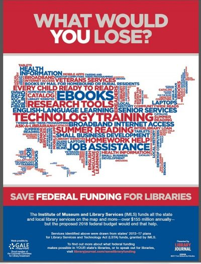 What would you lose save federal funding for libraries poster