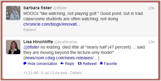 Tweets to and from Barbara Fister