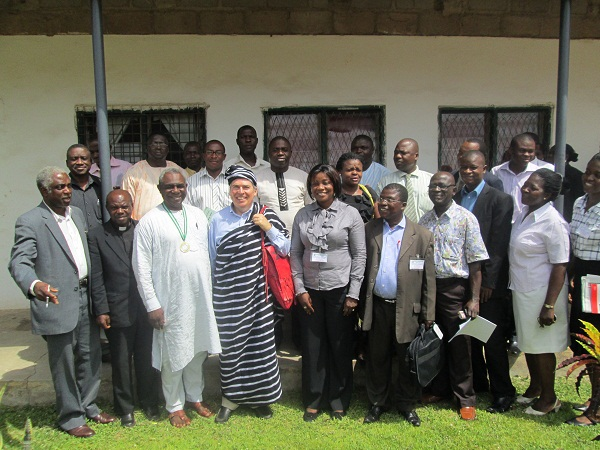 Duncan Alford in Tiv traditional attire (a gift from the University of Mkar) with presenters and organizers of the conference