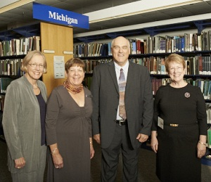 From left - Susan Hildreth, IMLS Director; Nancy Robertson, Michigan State Librarian; George Needham, former Michigan State Librarian; Christie Pearson Brandau, former Michigan State Librarian