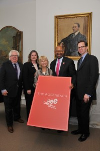 Arthur Spector, Chair, The Rosenbach Museum & Library Board of Trustees; Siobhan A. Reardon, President and Director, Free Library of Philadelphia; Tobey Dichter, Chair, Free Library of Philadelphia Foundation Board of Directors; Mayor Michael A. Nutter, City of Philadelphia; and Derick Dreher, John C. Haas Director, The Rosenbach Museum & Library gather under a portrait of A.S.W. Rosenbach following Wednesday's announcement.