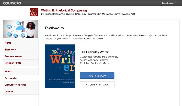 Chegg textbook for Coursera