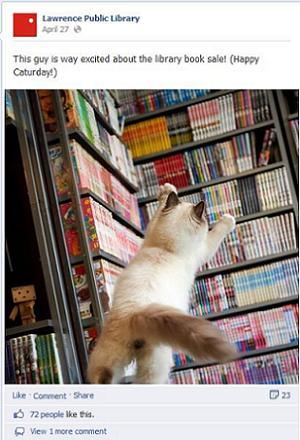 Lawrence library's Caterday Facebook post