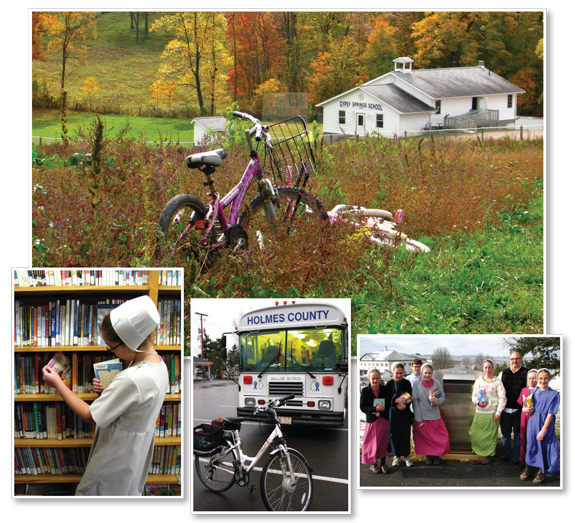 AMISH OPTIONS (l.–r.) The Gypsy Springs Amish Parochial School in Saltillo, OH; a student from the Mount Hope School takes advantage of HCDPL's bookmobile, which provides essential service for Amish patrons who live an hour away from the library by buggy; students from the Mount Hope School at the book drop with HCDPL director Bill Martino