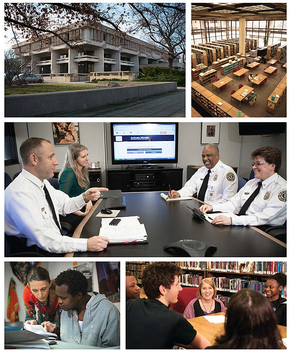 """A TRULY CENTRAL LIBRARY  WPL's role in capturing citizen's creativity places it at the center of a coalition of civic agencies. Top row, l.-r.: WPL's main branch may soon be upgraded; in the meantime, the spacious interior helps handle more than  a million visits and two million circulating items. Second row: Discussing the Activate Wichita website, an """"electronic town hall"""" built and maintained by the Central Library, are (l.–r.) City of Wichita fire marshall Bradley Crisp, Activate Wichita intern Ellen Crispin,  Fire Chief Ronald D. Blackwell, and Deputy Fire Chief Elizabeth Snow. Bottom row, l.–r.)In keeping with the town's priority on lifelong learning, ESL instructor Claude Puntel-Sessions (l.) speaks with Abdelaziz Mohamed from DR Congo during an """"English, a cultural orientation"""" class. At WPL, patrons are never too young to participate; Erin Downey Howerton, Central Library children's section manager (c.), speaks to the Mayor's Youth Council, created by Mayor Brewer in 2007 to give voice to Wichita's youth on community issues. Photos by Brett Deering/AP Images for Library Journal"""