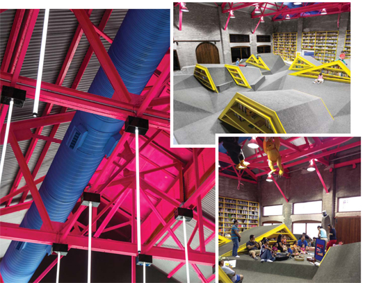 A LITERARY LANDSCAPE (Clockwise from top l.): Niños Conarte's unique climbable shelves; colorful struts highlight the library's industrial roots; programs target youngsters practically from birth