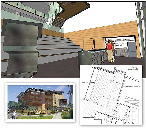 KITCHEN TO GO The cooking elements of the multipurpose space at Austin's in-progress New Central Library bottom l.)  roll away when not in use. Floor plan (r.) illustrates the layout of bleacher seating for classes and kitchen space.  Images courtesy of Shepley Bulfinch