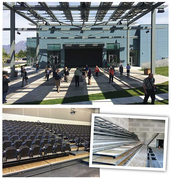 OPEN TO ANYTHING SLCL's hangar door joins flexible interior space to an outdoor amphitheater (top), shaded by  solar panels. High-end bleachers were installed (bottom rt.), to provide theater-style seating (bottom l.).  Completed photos by Rebecca Miller; construction photo c/o SLCL