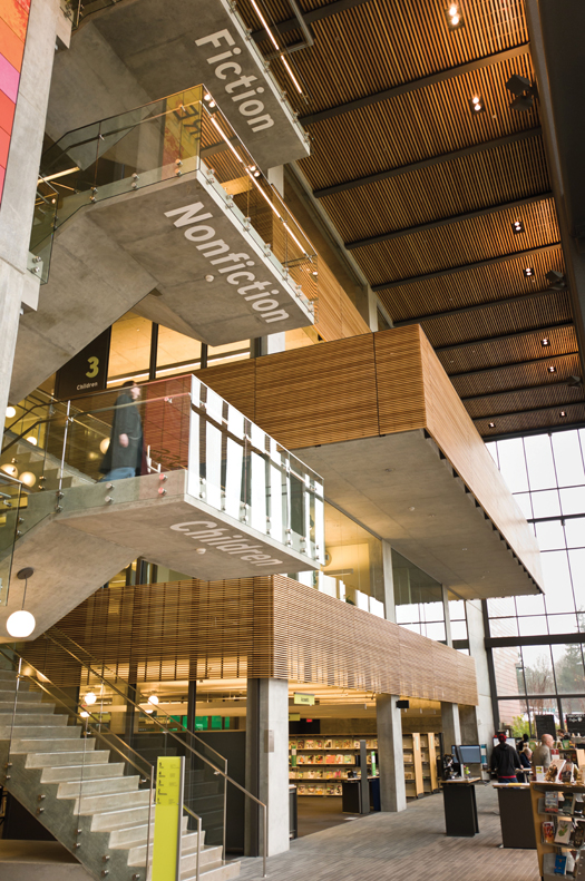 THINGS ARE LOOKING UP The underside of VCL's five-story floating staircase provides patrons with strong wayfinding from the start