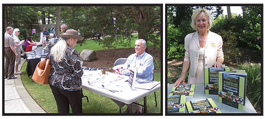 "BOOKS IN BLOOM Sachem PL's garden was ""home"" to dozens of local authors, such as Ralph T. Gazzillo (l.) and Leeann Lavin (r.)"
