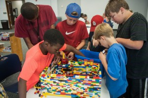 Children play with LEGOs at the Florissant Valley Branch