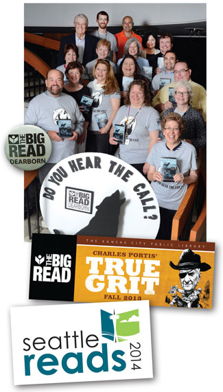 """BIG DEAL Marketing drives city read participation. (top-bottom): Dearborn PL readers were """"wild"""" about the kickoff for its 2014 Big Read; Kansas City PL chose True Grit in 2013; and Seattle PL branded its program with an iconic logo"""
