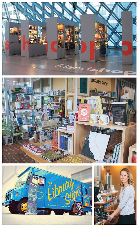LIBRARIES HAVE THE GOODS Moneymaking ventures come in the form of diverse retail options (clockwise from top l.): FriendShop at the Seattle Public Library Central Library; San Diego Public Library's Library Shop West corner, looking toward Petco Park; SDPL's Library Shop buyer and manager Erin Zlotnik; and Los Angeles Public Library's Library Store on Wheels. Seattle PL Photo courtesy of Friends Of The Seattle Public Library; San Diego PL Photos by Stacy Keck; LAPL photo by Ryan Romero Photography
