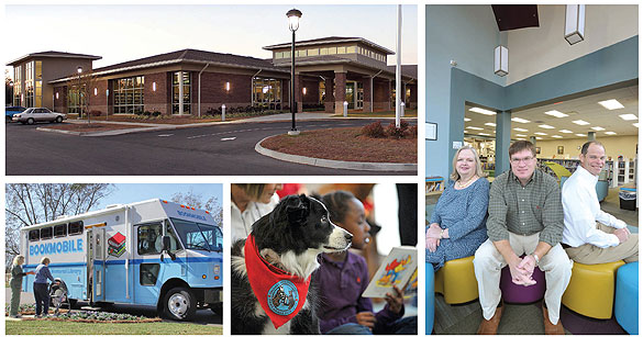 COMMUNITY LEADERSHIP Strong patron involvement demonstrates DHCLS's successful strategy of meeting community  needs. (Clockwise from top l.): DHCLS's newly constructed Main Library; Director Bettye Forbus (l.) with the two residents  who started the library's renaissance: Forrest Register (c.) and Vince Edge; therapy dogs are trained to help children  with reading difficulties; the DHCLS bookmobile serves county locations without proximity to the branches.  Photos by Nick Stakelum/Jay Hare