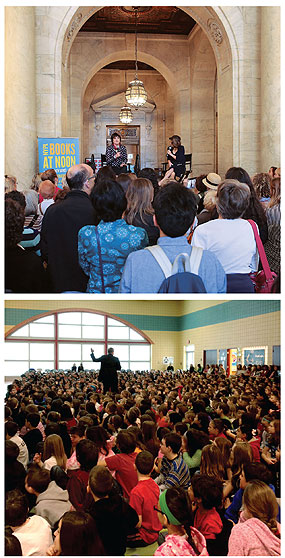 Top: Eve Ensler (l.) is interviewed by NYPL's  Jessica Strand during the Books at Noon program.  Bottom: a book event at the Cuyahoga  County Public Library. Top photo by  Jonathan Blanc/The New York Public  Library; bottom photo by Laurie Kinceer
