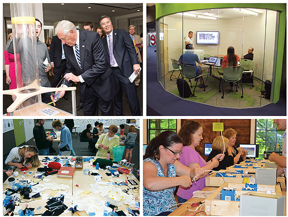 TAILOR-MADE Collaborative, creative spaces are now custom-tailored to community interests. (Clockwise from top l.): Congressmen Steny Hoyer (c.) and Mark Takano (r.) take part in the Capitol Hill Maker Faire; buzz-worthy activity rooms in Phoenix PL's hive @ central; an electrical Maker session at Fayetteville Free Library's Fab Lab is shockingly good fun; a hot mess going on at Madison PL's Bubbler. Credits (clockwise from top l.): courtesy of IMLS; courtesy of Phoenix Public Library, courtesy of Fayetteville Free Library ; and courtesy of Madison Public Library