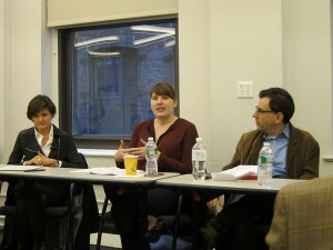 Panelists Lisa Norberg, Megan Wacha, and Steven Ovadia