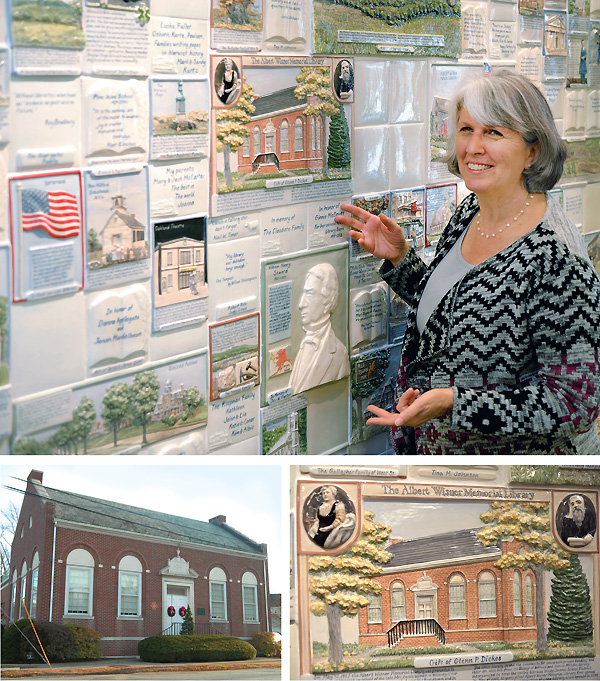 LEADIN HERE Library Director Rosemary Murphy shows off the impressive tile wall showcasing the area's history, created by local artist Marion Grebow. The library's original building (bottom l.) is represented on the wall (r.). Library photo by Kevin Henegan; all other photos ©2016 William Neumann