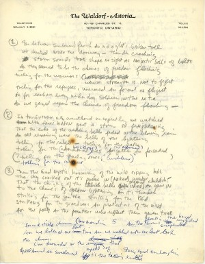 "Manuscript for ""Chimes of Freedcm"" Courtesy of Bob Dylan archives"