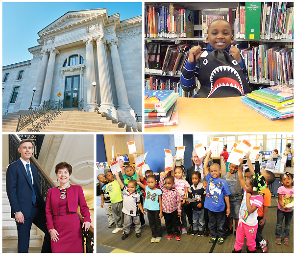 "A FULL HOUSE (Clockwise from top l.): The Main Library entrance; the ""Jaws""-droppingly cool shark backpack, the prize for reading a minimum  of ten books during Summer Reading; Louisville mayor Greg Fischer (rear ctr.), with future voters, kicked off his Cultural Pass program at the Shawnee branch; and the folks at the top: Jim Blanton and Julie Scoskie. Top and bottom left photos ©2016 Bryan Moberly Photography; all other photos courtesy of Lousville Free Public Library"