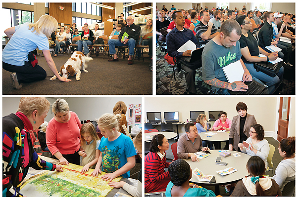 PROGRAMS GALORE (Clockwise from top l.): dog trainer Allison Woosley with an eager participant at the How-To Festival, which drew nearly 4,000 visitors; a full house for the popular Code Louisville program; Director Joyce Griffith (standing) and instructor Cris  Howard (seated with cards) from community partner Jefferson County Public Schools Adult and Family Learning lead a Family Learning session; and local textile artist Joanne Weis (l.) with patrons at an Arts & Smarts program, part of LFPL's Literacy Empowerment series.  Top row photos courtesy of Lousville Free Public Library ; bottom row photos ©2016 Bryan Moberly Photography