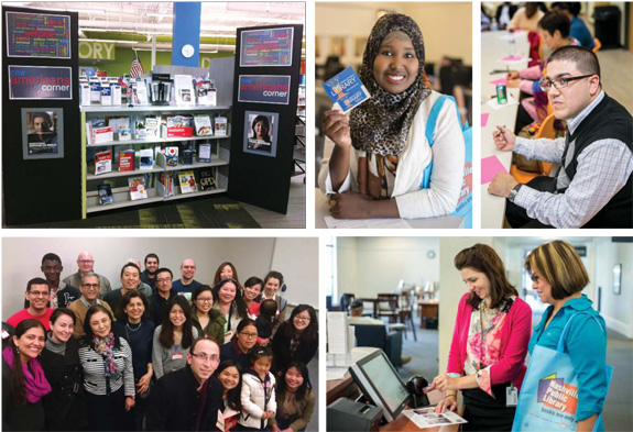 ENGAGING ENGLISH (Clockwise from top l.): New Americans Corner in Nashville Public Library's (NPL) Southeast Branch;  Nashville patron shows off her new library card; ready to write at NPL; NPL adult literacy coordinator Megan Godbey (l.) offers computer help; Carnegie Library of Pittsburgh's Let's Speak English group