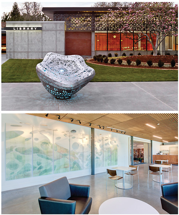 On the plaza outside the Main Library in Palo Alto, CA, six sculptures made from crowdsourced community text change color in response to patrons' touch. Danielle Wyckoff's Surroundings in Park City Library, UT.  Palo Alto photo ©Cesar Rubio; Surroundings photo by Nicholas Swan
