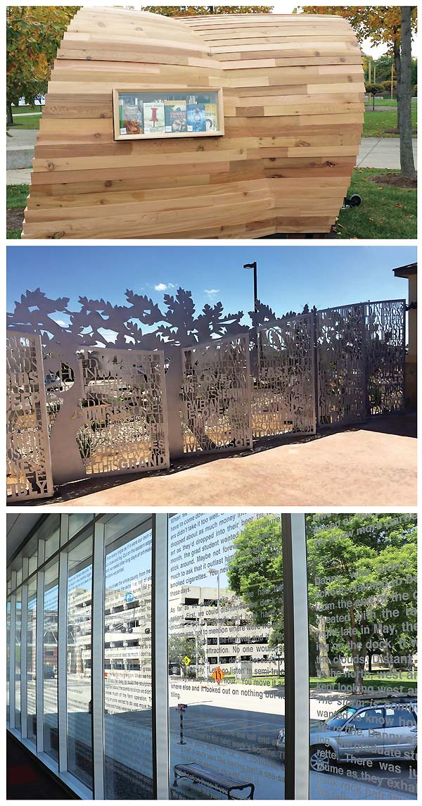 THE POWER OF WORDS (top–bottom): Indianapolis PL's public art project has a literacy angle, with installations in White River State Park. El Bosque at the Encino Branch of the San Antonio PL. Cedar Rapids PL's Public Writing project, with vinyl text placed onto the library windows. Indianapolis Kiosk photo courtesy of the Indianapolis PL; El Bosque Photo courtesy of San Antonio PL; Public Writing, Public Libraries photo by Amanda Eldred, Cedar Rapids PL