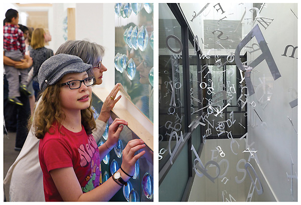 "DIMENSIONAL ART Left: Unbound, an interactive art piece at the Chapel Hill PL, NC, features glass portals leading to local submissions transferred to video. Right: A detail of Paper Cloud, ""an aerial sculpture"" by George Peters and Melanie Walker, hints at the piece's flow through Salt Lake County's West Jordan Library. Unbound photo by Daniel Siler, Town of Chapel Hill, NC; Paper Cloud photo by Rebecca T. Miller"
