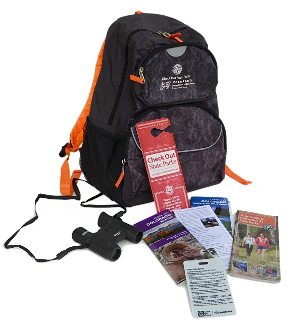 Backpack with contents displayed
