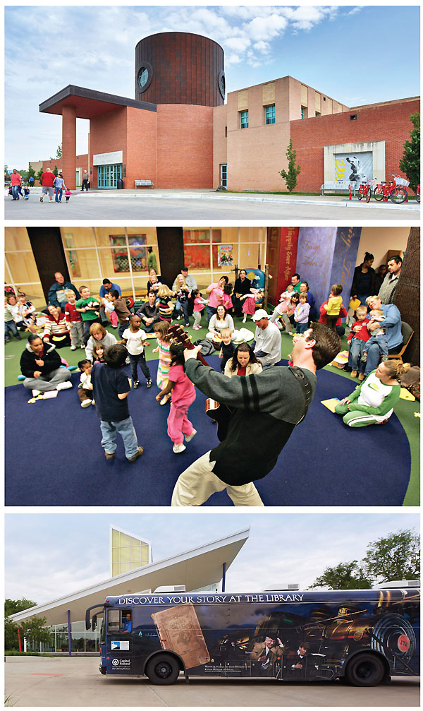 ONE BUILDING, MANY TOUCH POINTS (top-bottom): The Michael Graves–designed exterior; an interactive story time;  and the system's bookmobile delivers items to the Children's Discovery Center, one of TSCPL's early literacy partners.  Story time photo courtesy of TSCPL; all other photos by Alistair Tutton Photography
